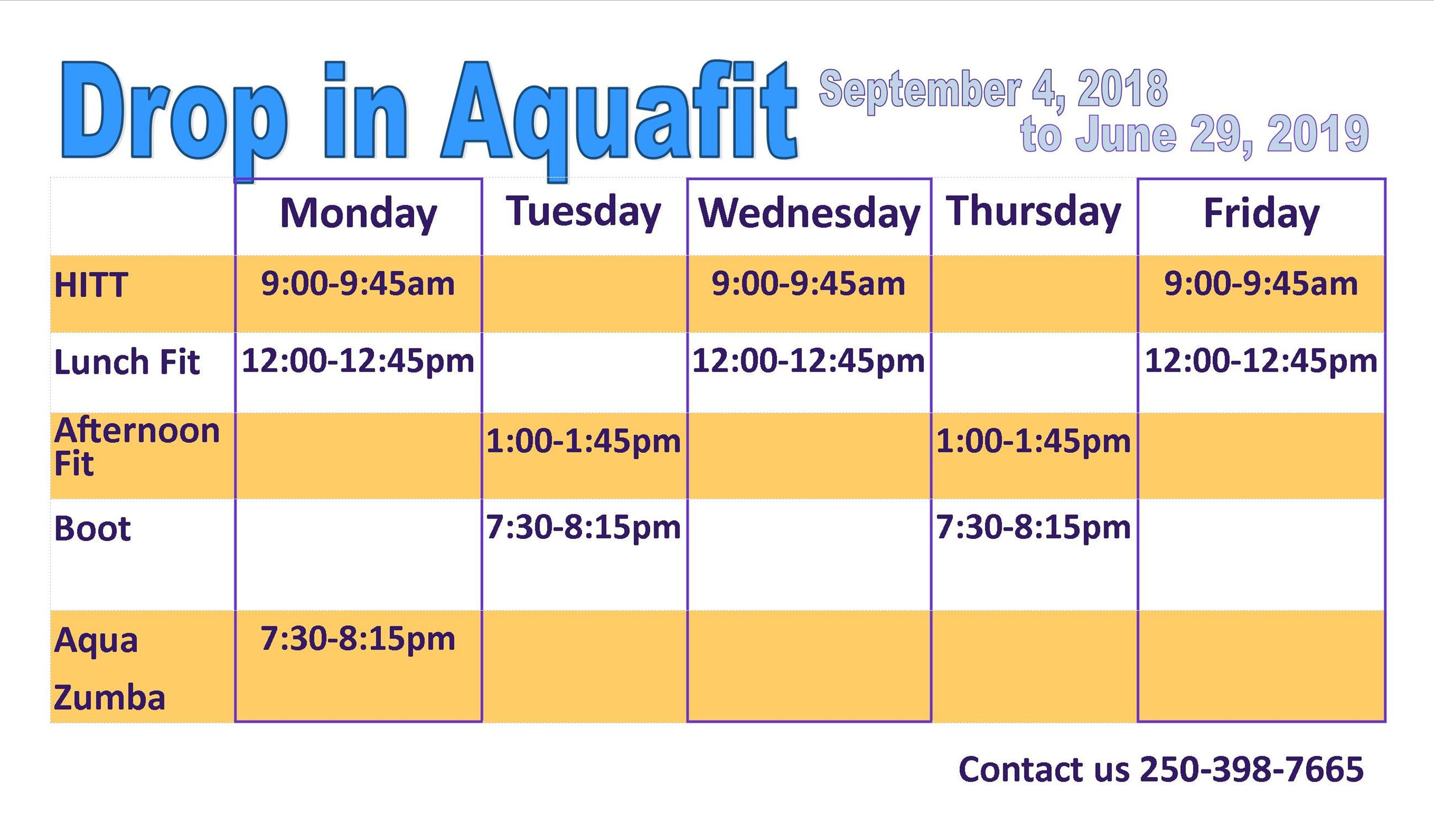 drop in aquafit card 2019