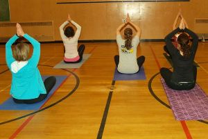Four yoga participants